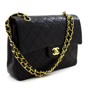 "CHANEL 2.55 Double Flap 10"" Chain Shoulder Bag Black Quilted Lamb t94"