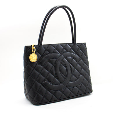 CHANEL Gold Medallion Caviar Shoulder Bag Shopping Tote Black b09 hannari-shop