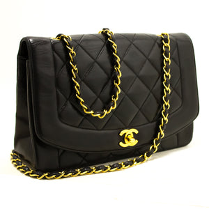 CHANEL Diana Flap Chain Shoulder Bag Crossbody Black Quilted Lamb Q40-hannari-shop