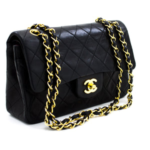 "CHANEL 2.55 Double Flap 9"" Chain Shoulder Bag Black Lambskin Purse x21 hannari-shop"
