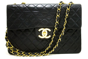 "CHANEL Jumbo 13"" Maxi 2.55 Flap Chain Shoulder Bag XL Black Lamb R72-Messenger & Cross Body Shoulder Bag-hannari-shop"