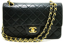 "CHANEL 2.55 Double Flap 9"" Chain Shoulder Bag Black Quilted Lamb R18"