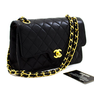 CHANEL 2.55 Double Flap Small Chain Shoulder Bag Black Lambskin u03
