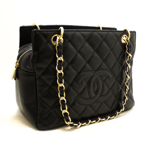 CHANEL Caviar Chain Shoulder Bag Shopping Tote Black Quilted Q41
