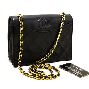 CHANEL Navy Classic Chain Shoulder Bag Quilted Flap Lamskin R11-Chanel-hannari-shop
