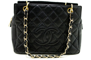 CHANEL Caviar Chain Shoulder Bag Shopping Tote Black Quilted Q41-Chanel-hannari-shop