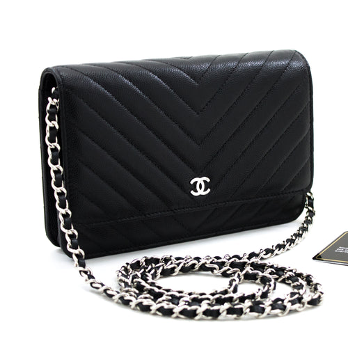 CHANEL Caviar V-Stitch WOC Wallet On Chain Black Shoulder Bag x23 hannari-shop