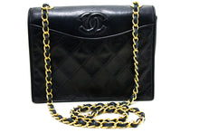 CHANEL Navy Classic Chain Shoulder Bag Quilted Flap Lambskin R11-Chanel-hannari-shop