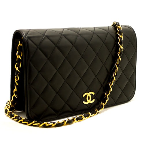 CHANEL Chain Shoulder Bag Clutch Black Quilted Flap Lambskin Purse p57