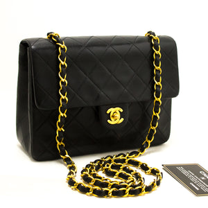 c2e6d79c1d83 CHANEL Mini Square Small Chain Shoulder Bag Crossbody Black Purse R20