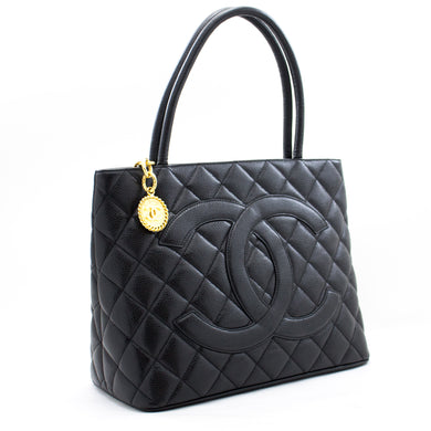 CHANEL Gold Medallion Caviar Shoulder Bag Shopping Tote Black b10 hannari-shop