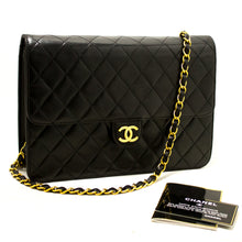 CHANEL Chain Shoulder Bag Clutch Black Quilted Flap Lambskin Purse Q42-Chanel-hannari-shop