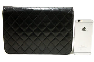 CHANEL Chain Shoulder Bag Clutch Black Quilted Flap Lambskin Purse Q42