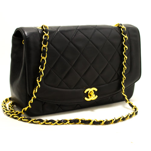 CHANEL Diana Flap Chain Shoulder Bag Crossbody Black Quilted Lamb p74