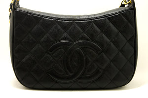 CHANEL Caviar Chain One Shoulder Bag Black Quilted Leather Zipper g57
