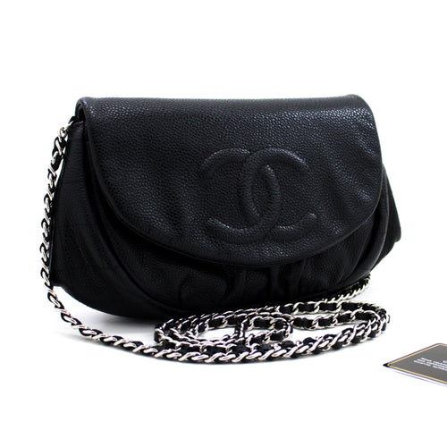 CHANEL Caviar Half Moon WOC Black Wallet On Chain Clutch Shoulder x19 hannari-shop