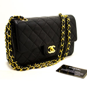 "CHANEL 2.55 Double Flap 9"" Chain Shoulder Bag Black Quilted Lamb R24-Chanel-hannari-shop"