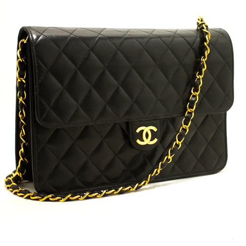CHANEL Chain Shoulder Bag Clutch Black Quilted Flap Lambskin p56