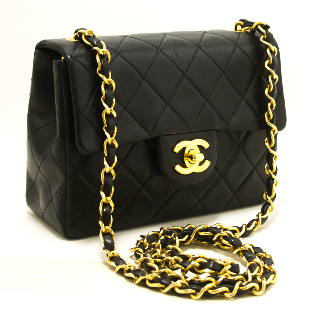 CHANEL Mini Square Small Chain Shoulder Bag Crossbody Black Purse s01-Shoulder Bag-hannari-shop