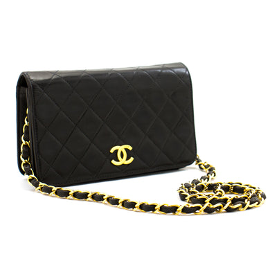 CHANEL Full Flap Chain Shoulder Bag Clutch Black Quilted Lambskin b02 hannari-shop