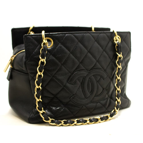 CHANEL Caviar Chain Shoulder Bag Shopping Tote Black Quilted p63