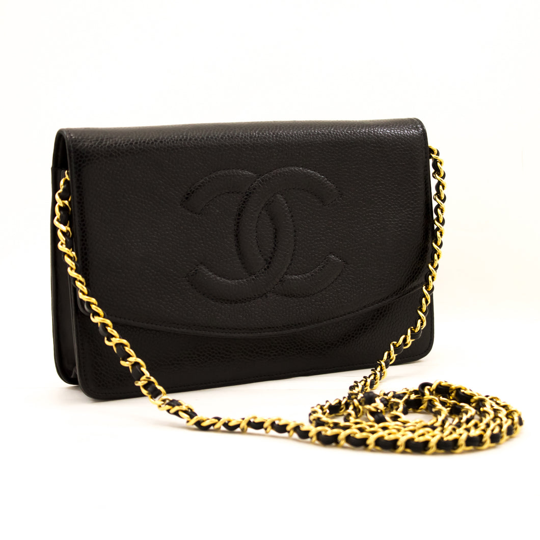 CHANEL Caviar Wallet On Chain WOC Black Shoulder Bag Crossbody z05 hannari-shop