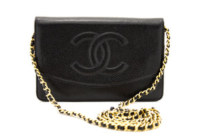 CHANEL Caviar Wallet On Chain WOC Schwarze Umhängetasche Crossbody z05 hannari-shop