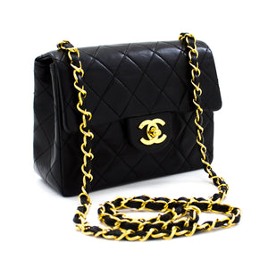 CHANEL Mini Square Small Chain Shoulder Bag Crossbody Black Lamb u01
