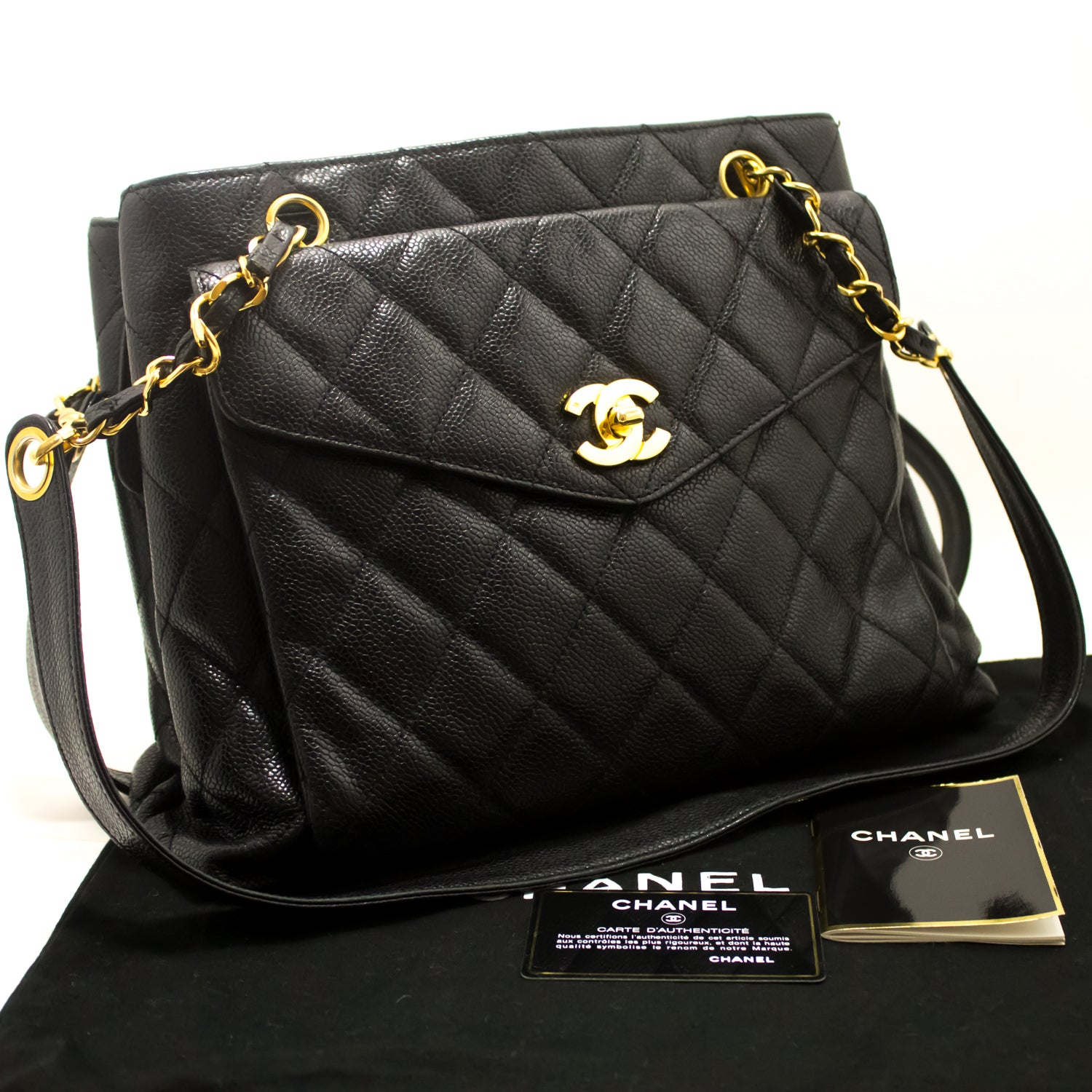 9aec5799425e CHANEL Caviar Large Chain Shoulder Bag Black Quilted Leather Gold i27 ...