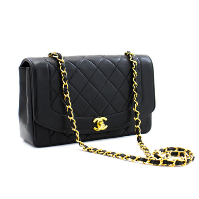 CHANEL Diana Flap Chain Shoulder Bag Black Quilted Lambskin Purse a72 hannari-shop