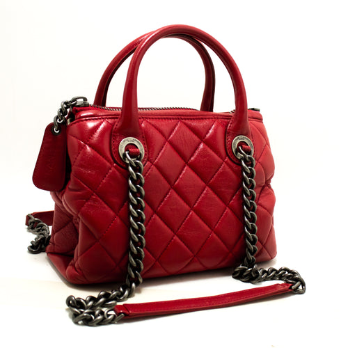 CHANEL 2 Way Red Silver Chain Shoulder Bag Handbag Quilted Calf n83