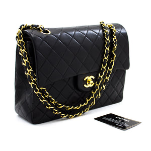 "CHANEL 2.55 Double Flap 10"" Chain Shoulder Bag Black Quilted Lamb t95"