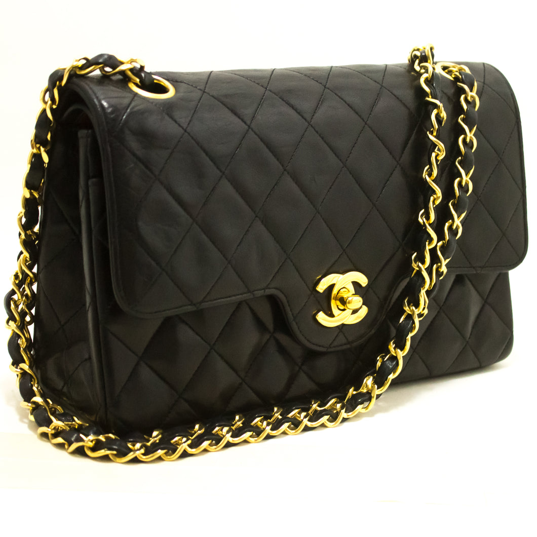 CHANEL Double Flap Chain Shoulder Bag Black Quilted Lambskin R98-Chanel-hannari-shop