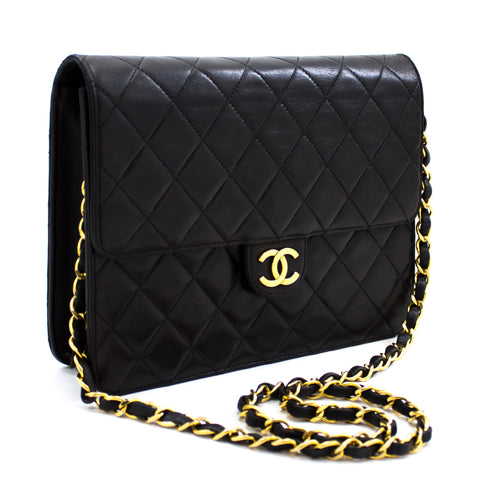 CHANEL Small Chain Shoulder Bag Clutch Black Quilted Flap Lambskin x25 hannari-shop