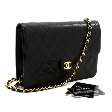 CHANEL Chain Shoulder Bag Clutch Black Quilted Flap Lambskin Purse t93-hannari-shop