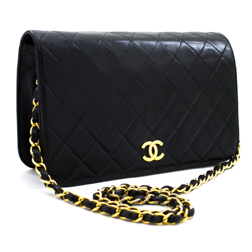 CHANEL Chain Shoulder Bag Clutch Black Quilted Flap Lambskin u36 hannari-shop