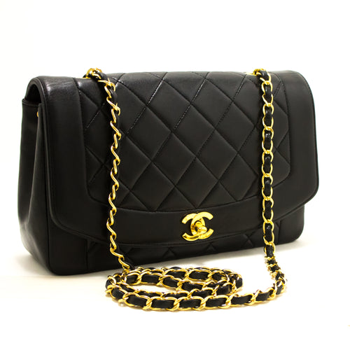 CHANEL Diana Flap Chain Shoulder Bag Crossbody Black Quilted Lamb p73