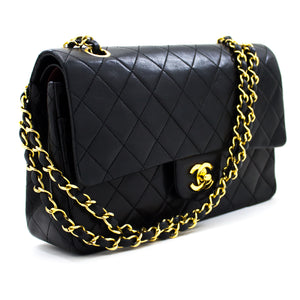 "CHANEL 2.55 Double Flap 10"" Chain Shoulder Bag Black Lambskin t96"