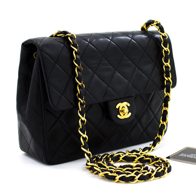 CHANEL Mini kvadratna torba na ramenih Crossbody Black Lamb x13 hannari-shop