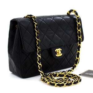 CHANEL Mini Square liʻiliʻi Chain Shoulder Bag Crossbody Black Lamb x13 hannari-shop