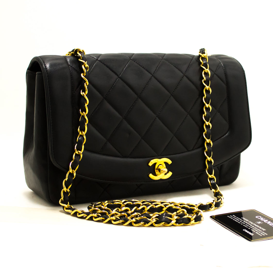 CHANEL Diana Flap Chain Shoulder Bag Crossbody Black Lambskin R03-hannari-shop