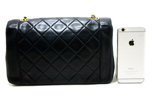 CHANEL Diana Flap Chain Shoulder Bag Crossbody Black Lambskin R03