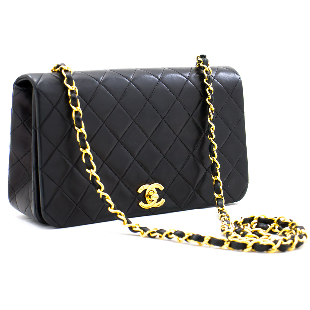 CHANEL Full Flap Chain Shoulder Bag Crossbody Black Quilted Lamb a71 hannari-shop