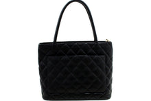 CHANEL Caviar Silver Medallion Shoulder Bag Black Leather Tote p61-Chanel-hannari-shop
