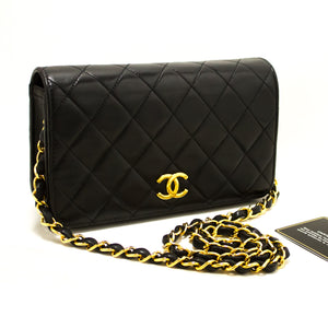 CHANEL Small Chain Shoulder Bag Clutch Black Quilted Flap Lambskin Q62-Chanel-hannari-shop