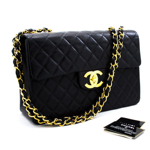 "CHANEL Jumbo 13"" Maxi 2.55 Flap Chain Shoulder Bag Black Lambskin x26 hannari-shop"