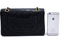 "CHANEL 2.55 Double Flap 10 ""Chain Shoulder Bag Black Lambskin t98-hannari-shop"