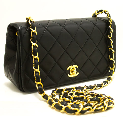 CHANEL Small Chain Shoulder Bag Crossbody Black Quilted Flap Lamb R99