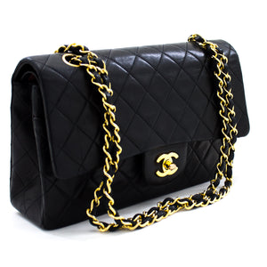 "CHANEL 2.55 Double Flap 10"" Chain Shoulder Bag Black Lambskin u84 hannari-shop"