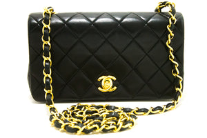 CHANEL Small Chain Shoulder Bag Crossbody Black Quilted Flap Lamb R99-Shoulder Bag-hannari-shop